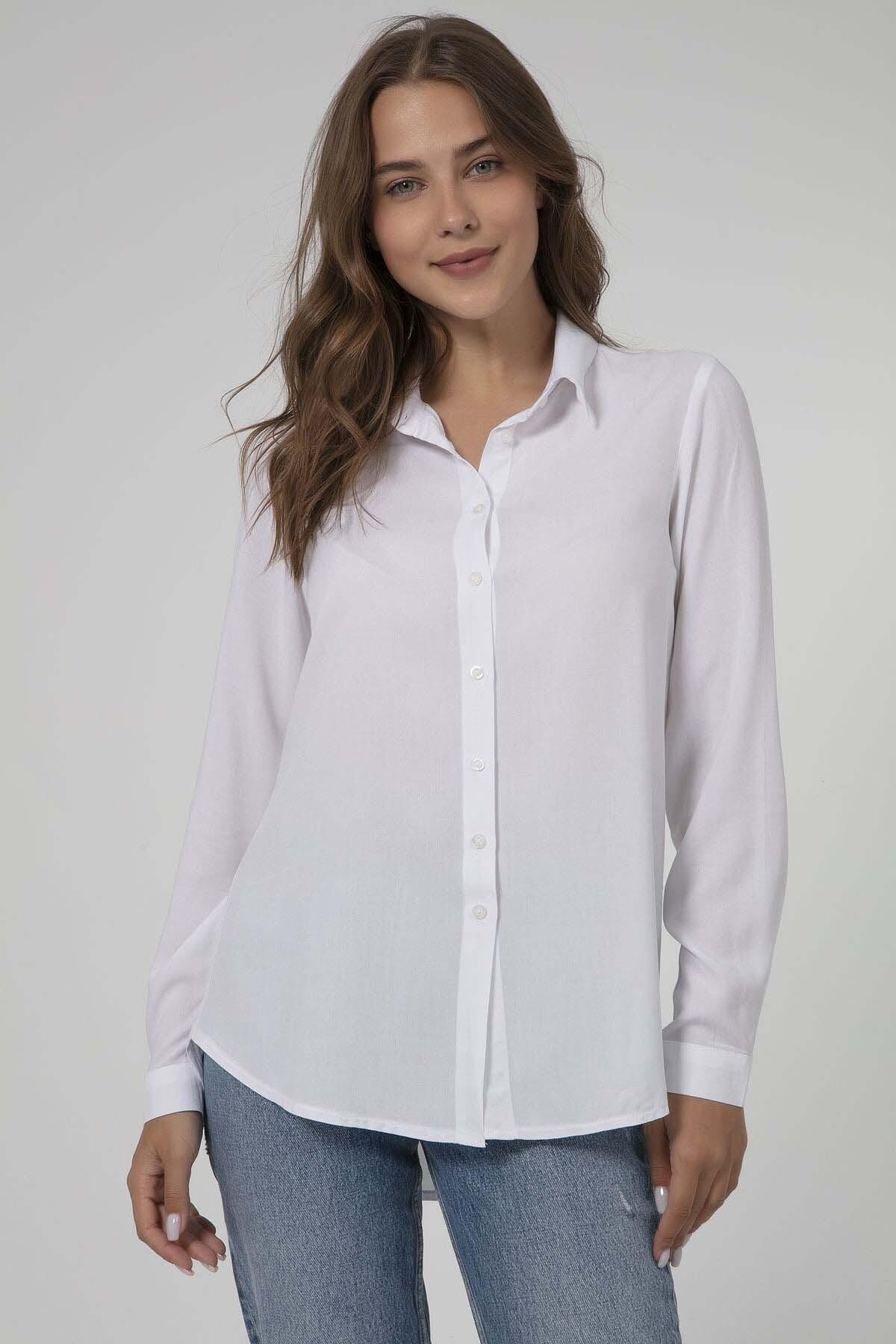 قميص فيسكوز بأزرار نسائي