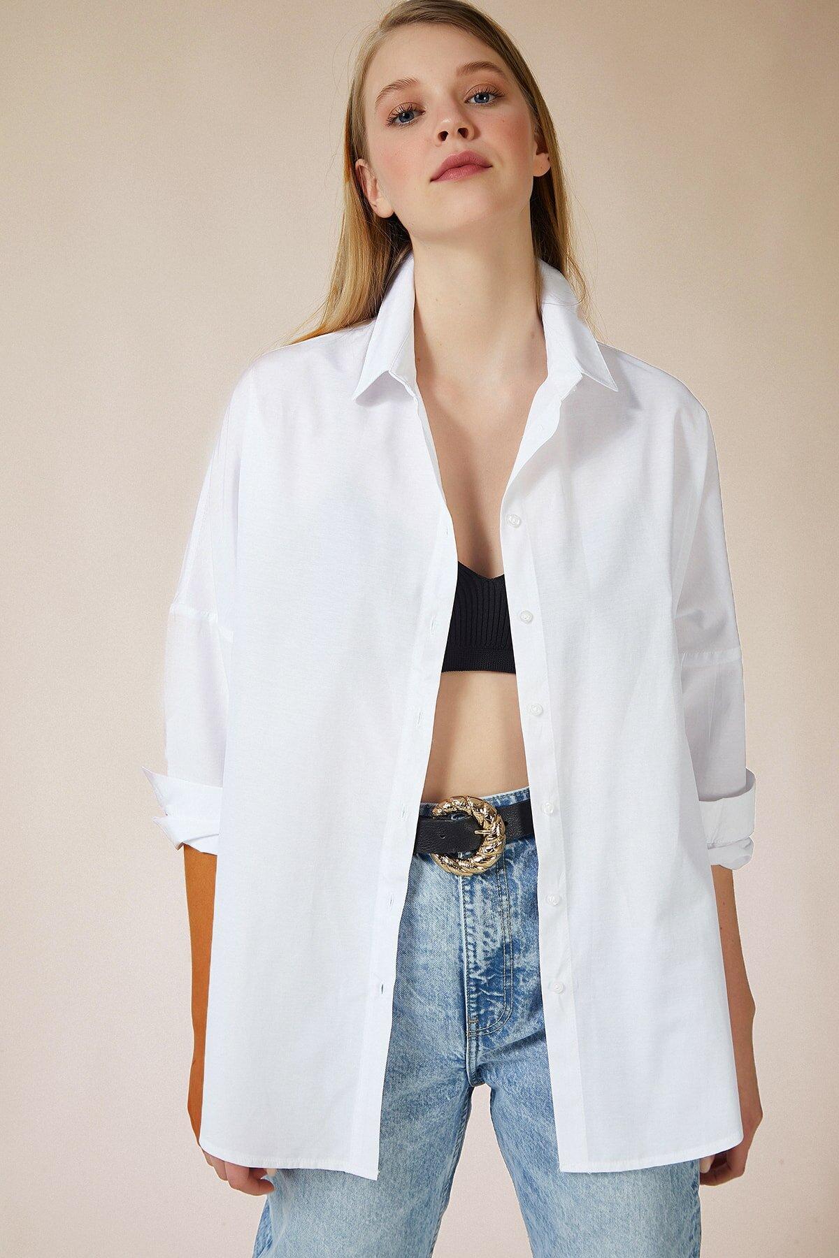قميص موحد اللون طويل مقاس كبير نسائي