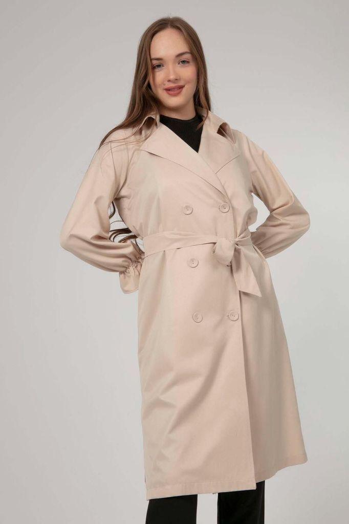 Women's Wrap Collar Trenchcoat