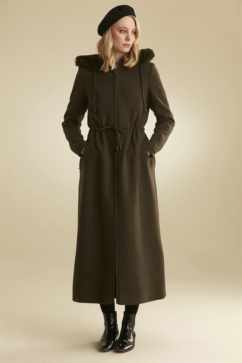 معطف كاكي طويل بجيوب نسائي