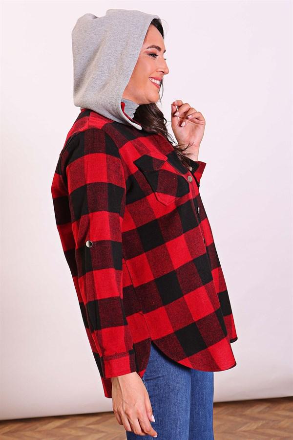 قميص هودي أحمر بمربعات نسائي
